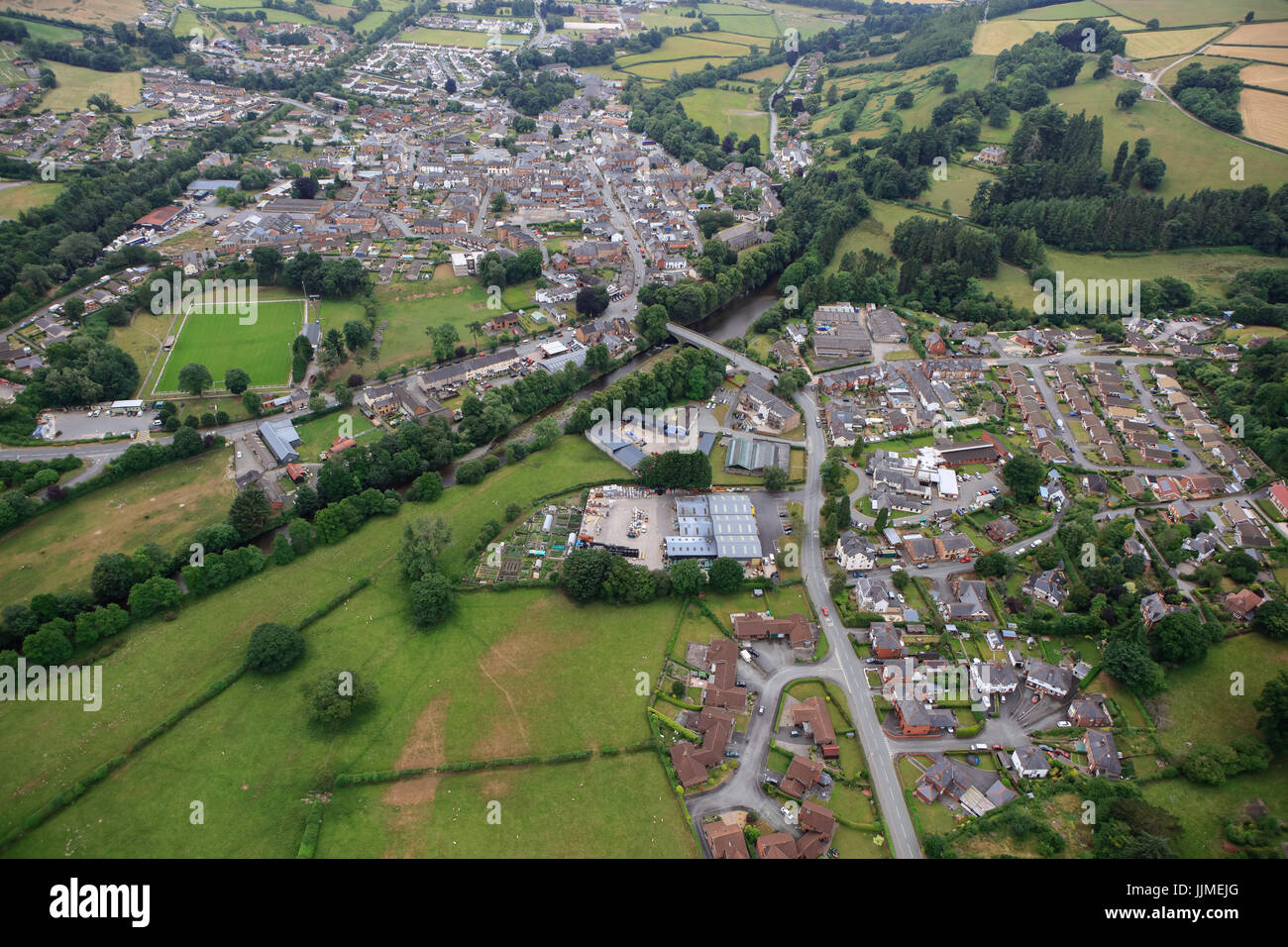 An aerial view of the Powys town of Llanidloes - Stock Image