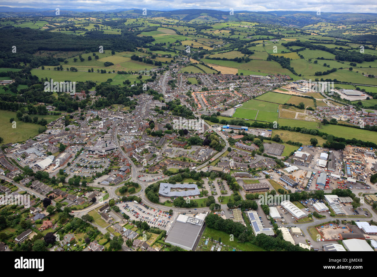 An aerial view of Ruthin, the county town of Denbighshire in Wales - Stock Image