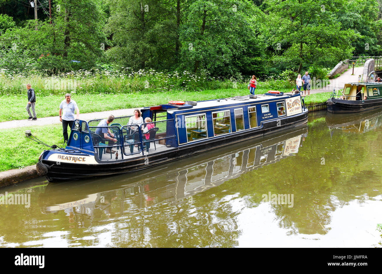 The Beatrice Charity narrowboat or barge or canal boat on the Caldon Canal at Consall  North Staffordshire England - Stock Image