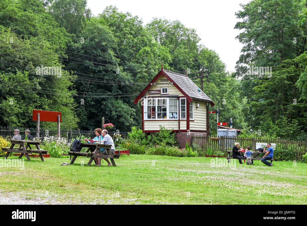 The Churnet Valley Railway at Consall is a preserved standard gauge heritage railway to the east of Stoke-on-Trent - Stock Image