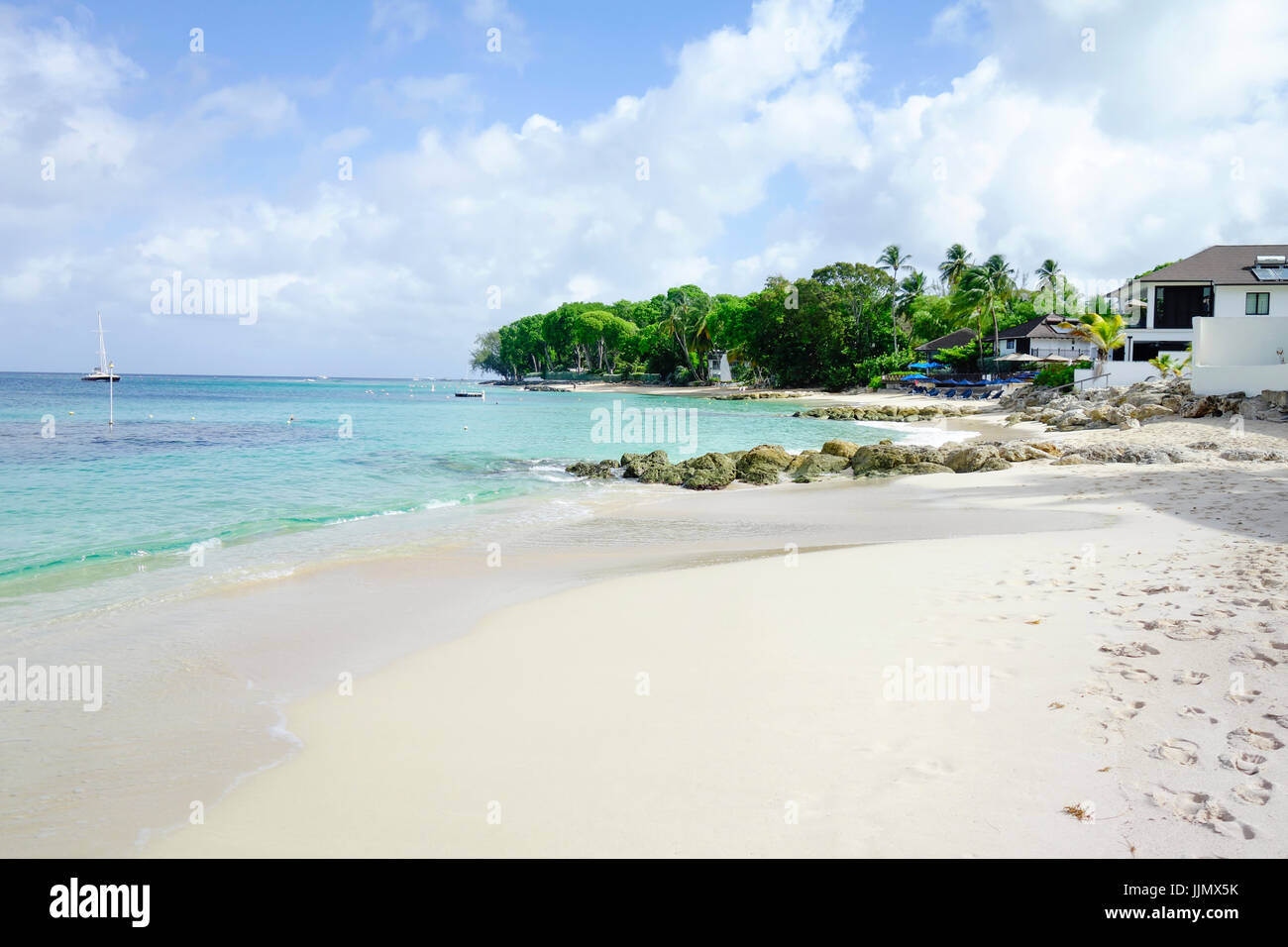 Beach and Coastline, Holetown, Barbados, West Indies - Stock Image