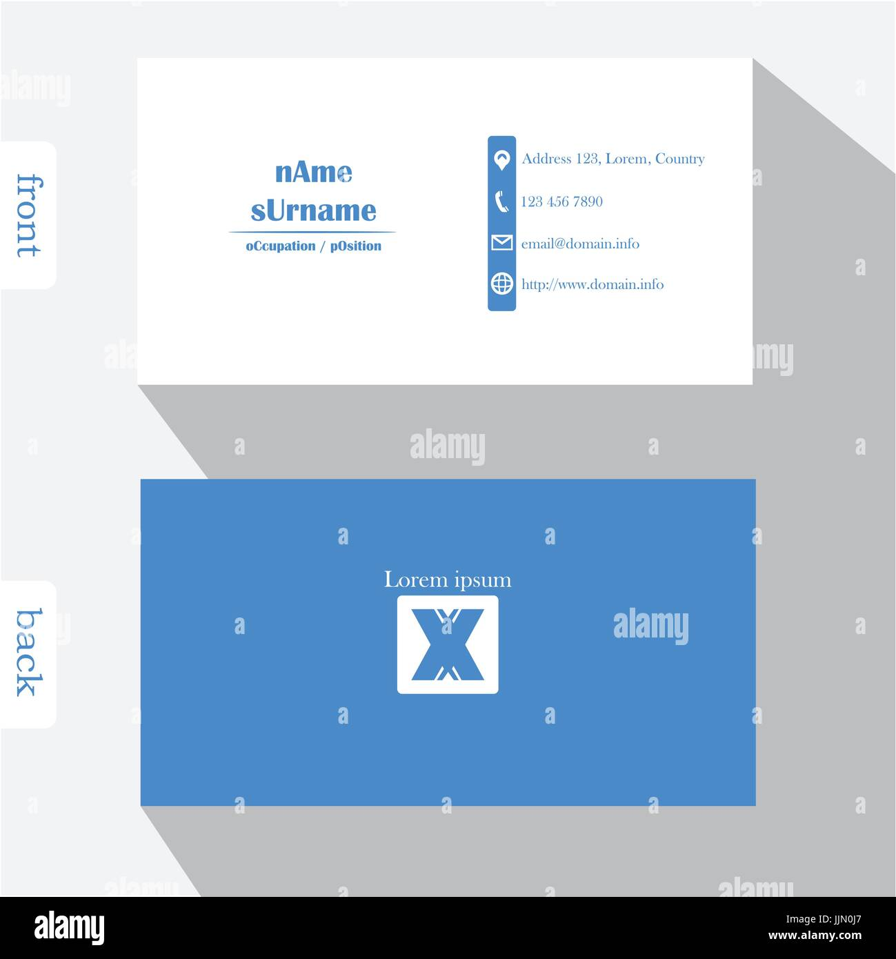 Vector design modern creative business card template. Show front and ...