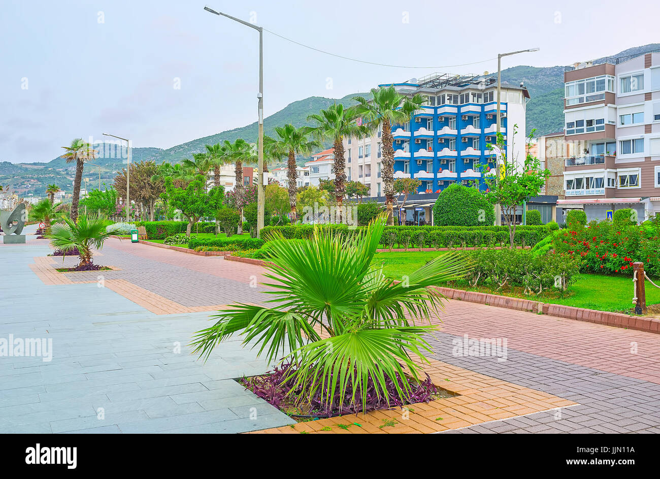 Alanya resort boasts perfect city landscaping - the promenades, avenues and public parks boasts wide variety of - Stock Image