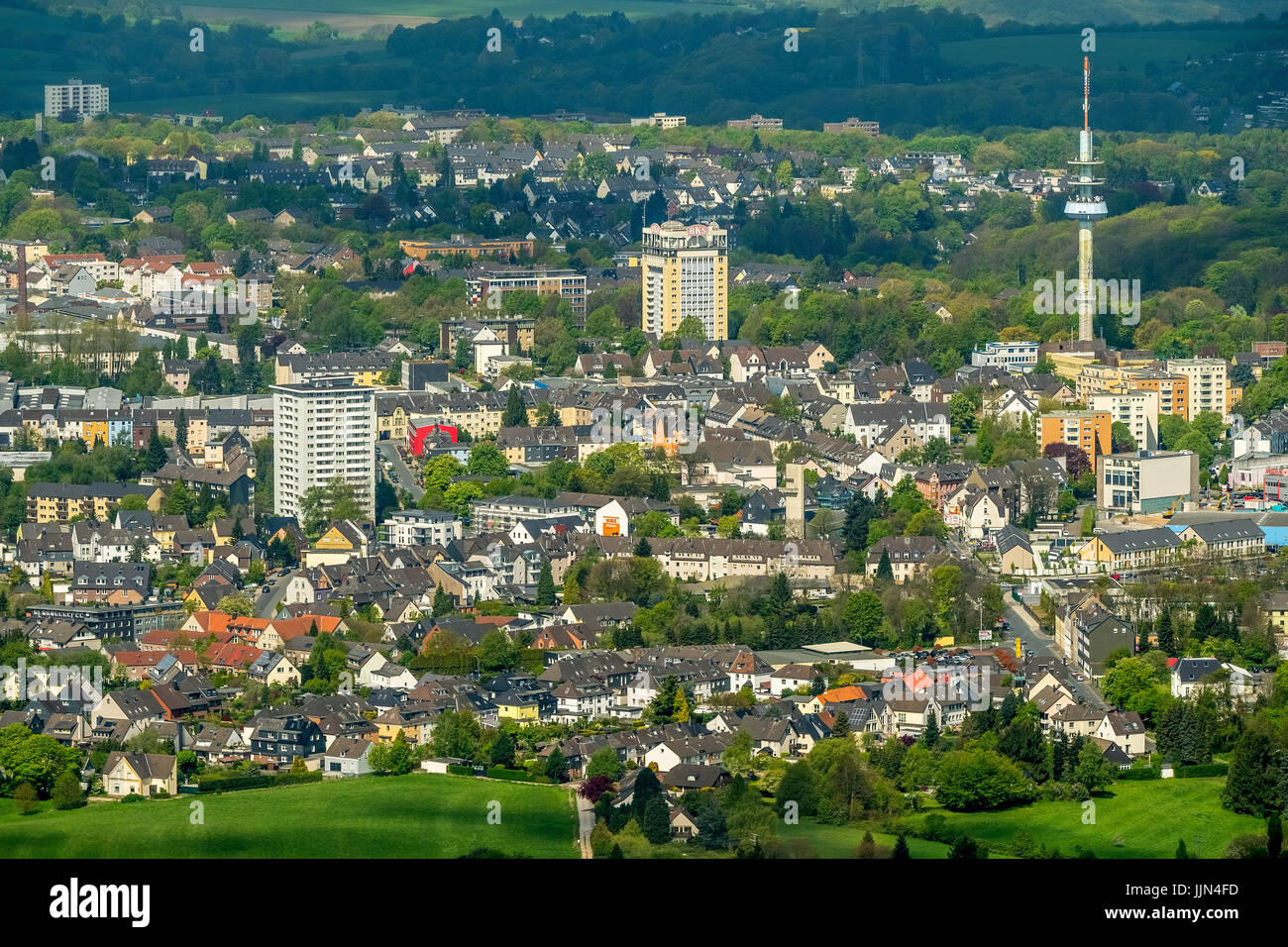 Cityscape with TV tower, Velbert, Ruhr area, North Rhine-Westphalia, Germany - Stock Image