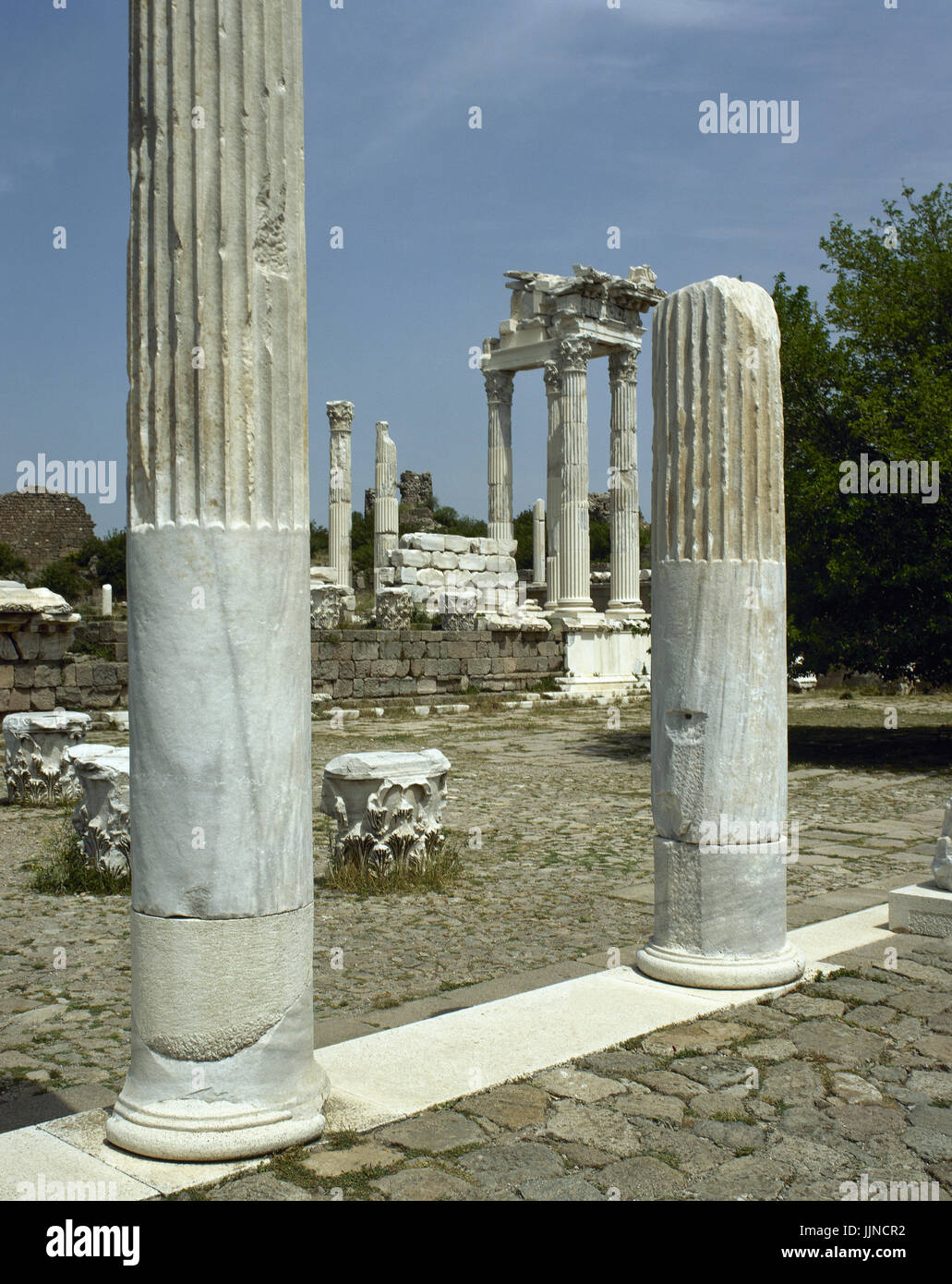 Turkey. Pergamon. Ancient Greek city in Aeolis. The Temple of Trajan on the Upper Acropolis. Stock Photo
