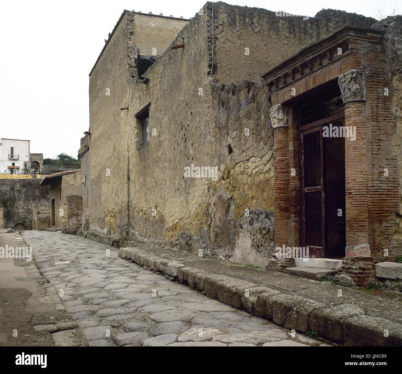 Italy. Herculaneum. View of Decumanus inferior. Campania. - Stock Image