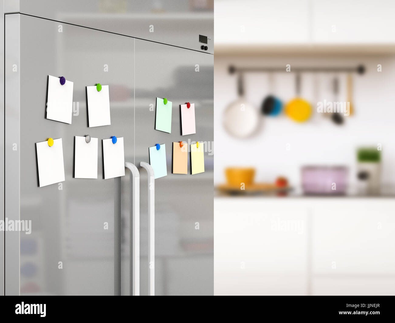 3d rendering empty notes with fridge magnets on refrigerator door & 3d rendering empty notes with fridge magnets on refrigerator door ...