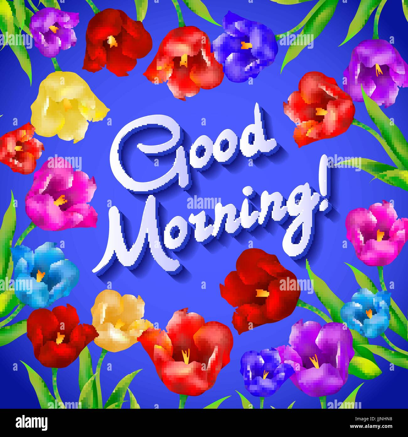 Good Morning Lovely Card With Flowers Tulip Vector Art Stock