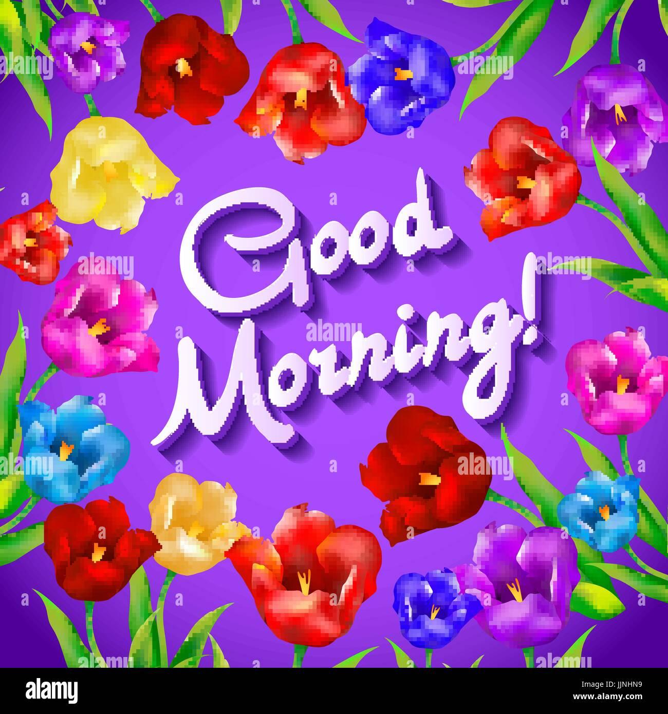 Floral fashion design card with slogan, good morning vector print.
