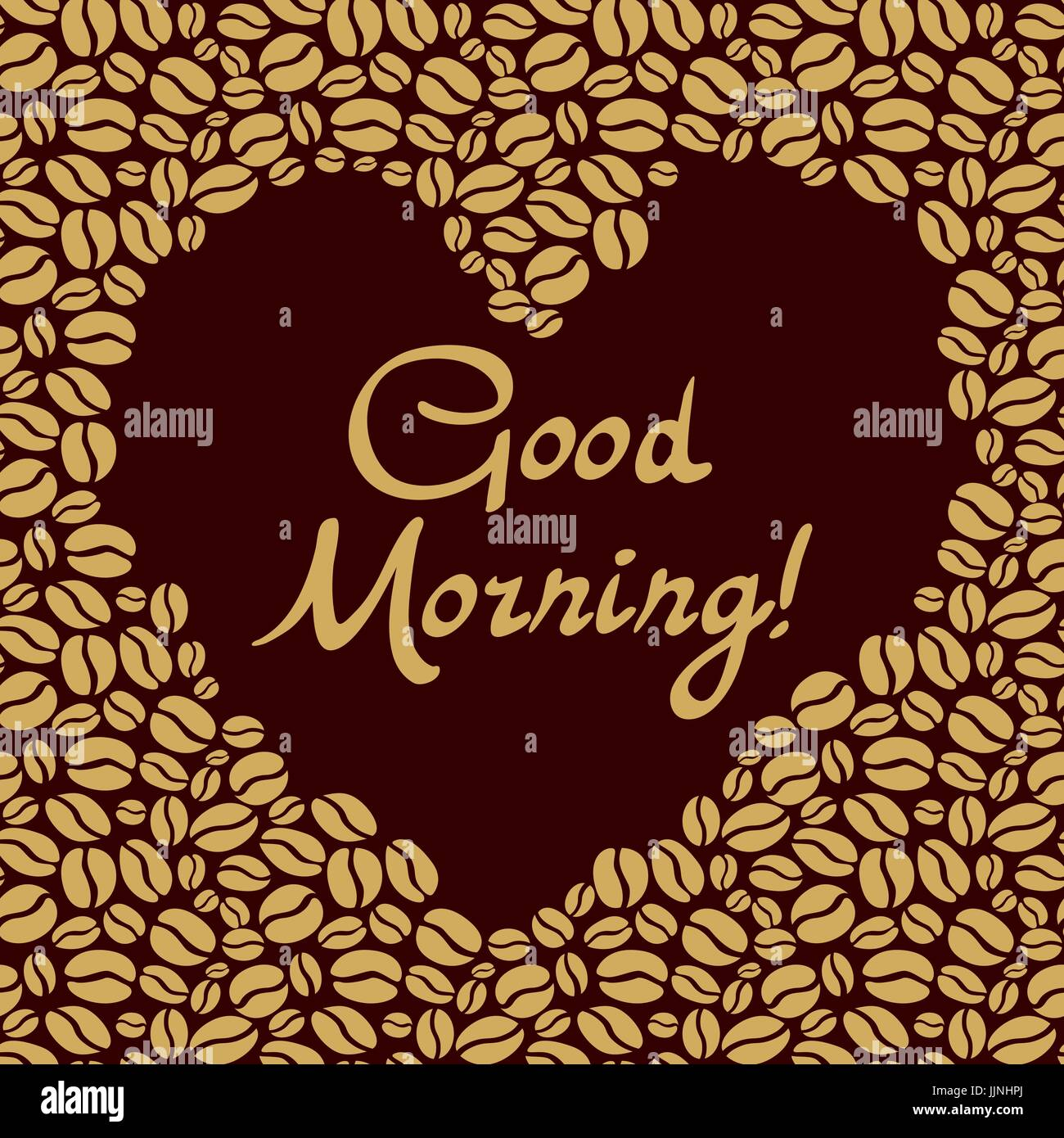 Heart Shaped Of The Coffee Beans Good Morning Lettering Vector Art