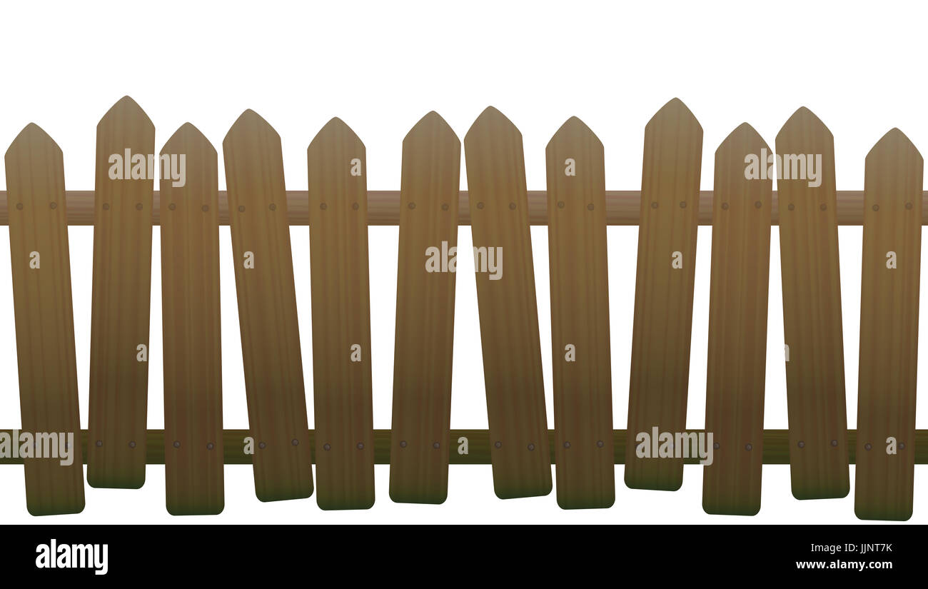 Old, unsteady, crooked fence with wooden texture, seamless extendable - Stock Image