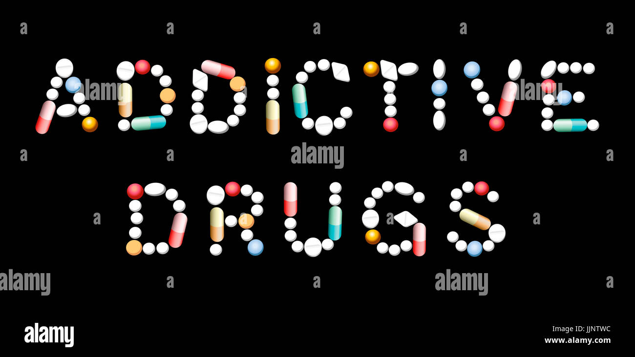 ADDICTIVE DRUGS written with pills, tablets and capsules. - Stock Image