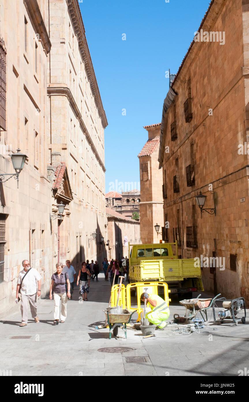 Street in works. Salamanca, Spain. - Stock Image