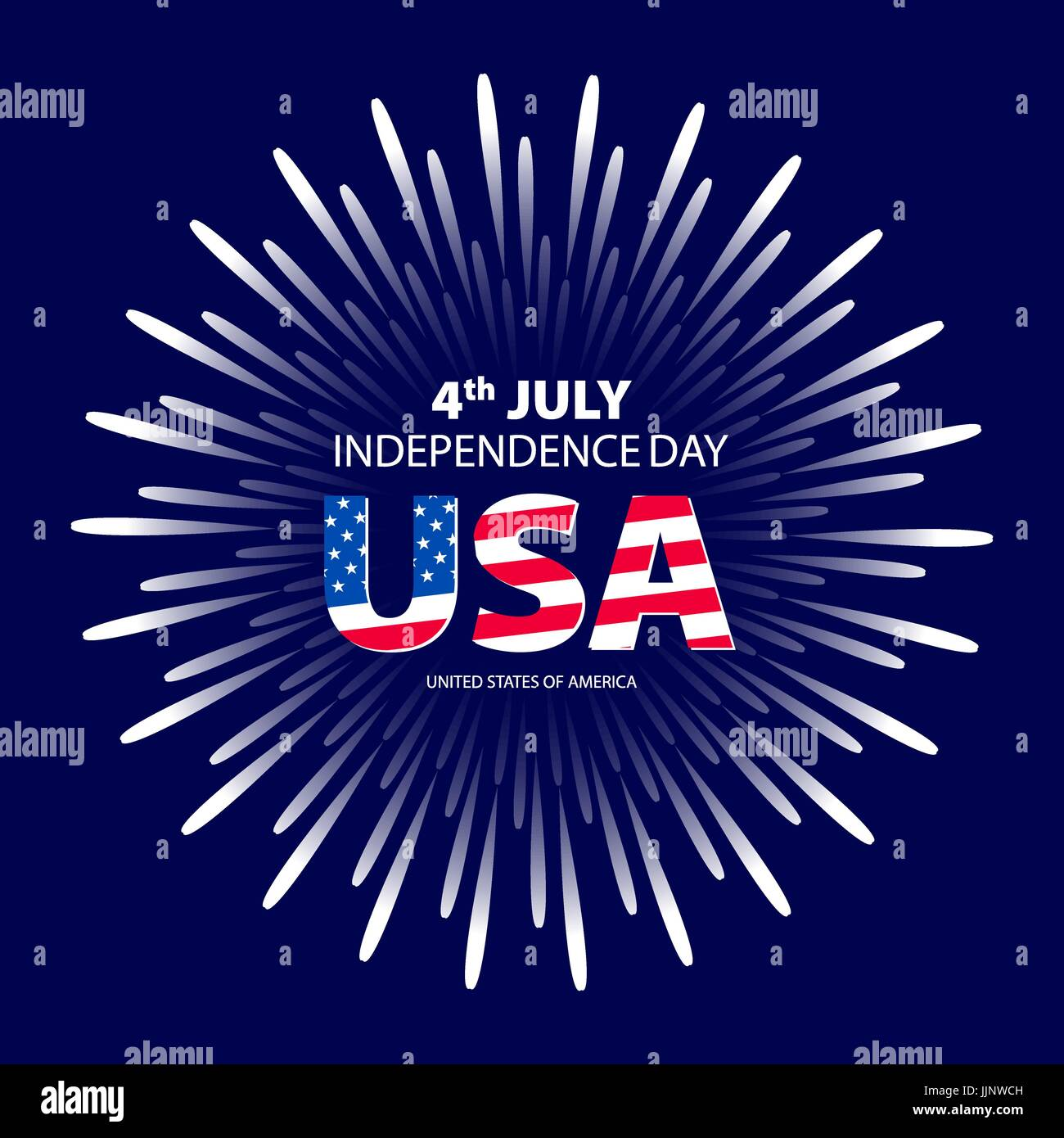 Happy 4th July independence day with fireworks background. vector art - Stock Vector