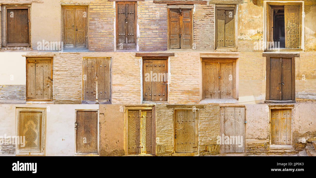 The compilation of the old wooden doors, preserved in towns of Uzbekistan and covered with complex carved patterns. - Stock Image