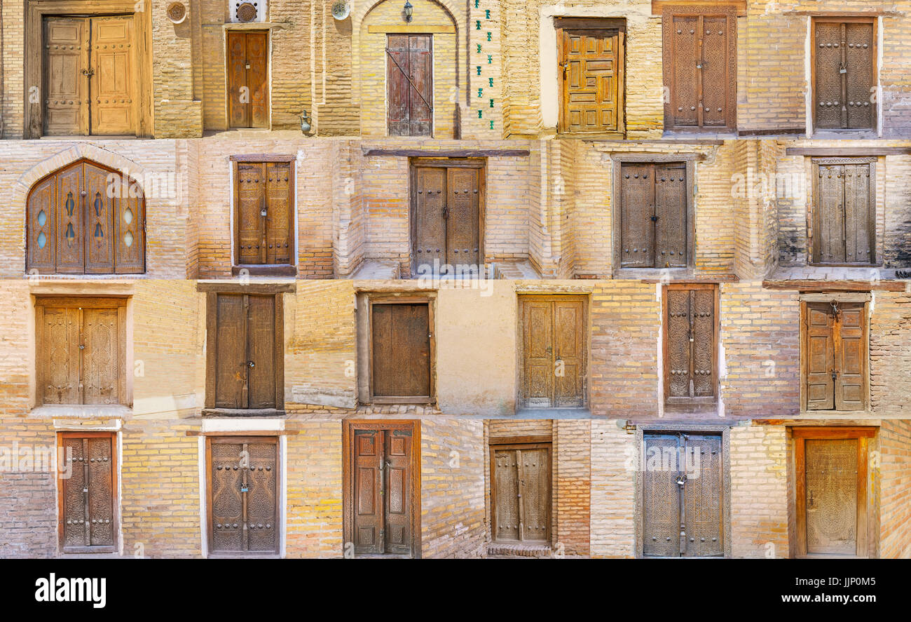 The compilation of the medieval doors with islamic ornaments, preserved in Khiva, Samarkand, Bukhara and Kokand, - Stock Image