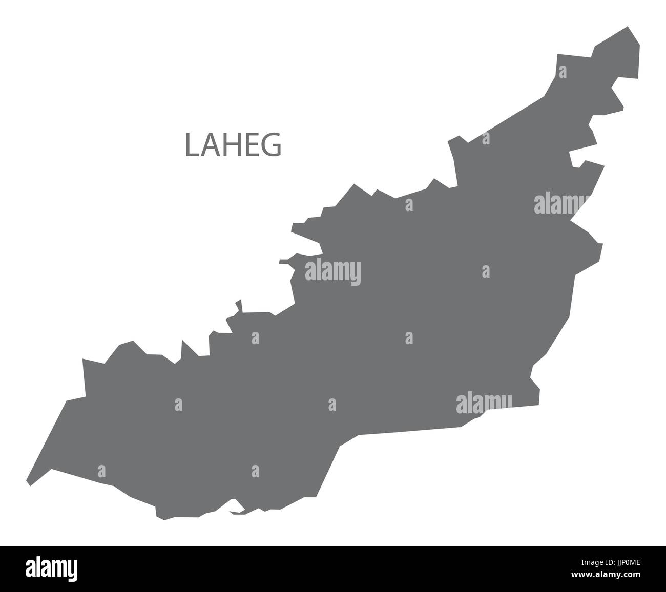 Laheg Yemen governorate map grey illustration silhouette shape - Stock Image