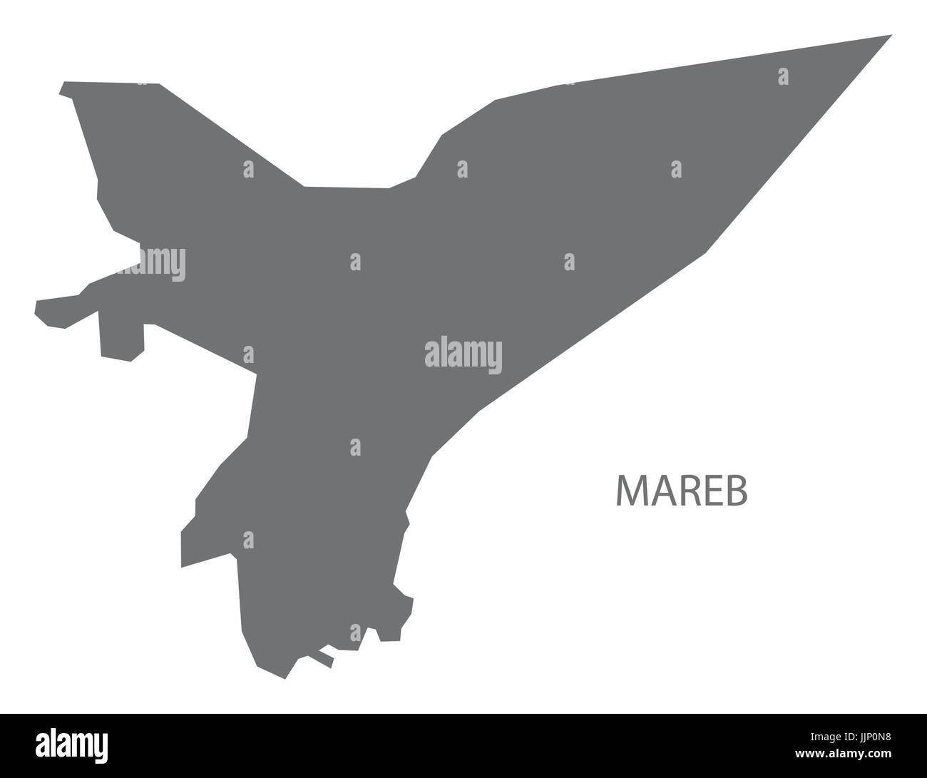 Mareb Yemen governorate map grey illustration silhouette shape - Stock Image