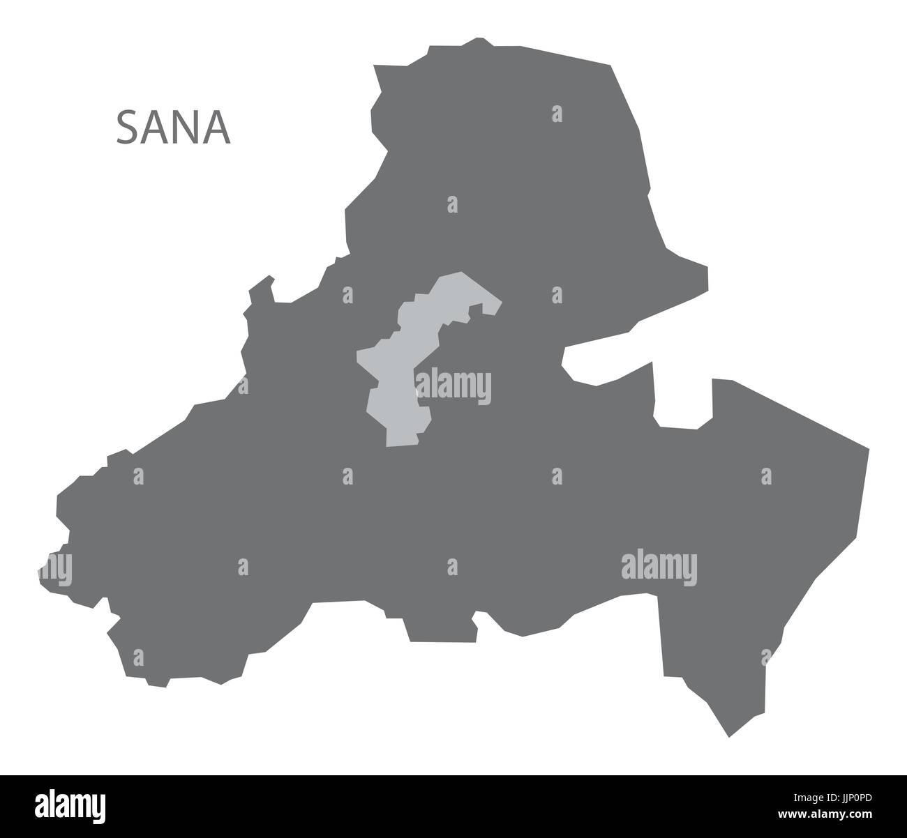 Sana Yemen governorate map grey illustration silhouette shape - Stock Vector