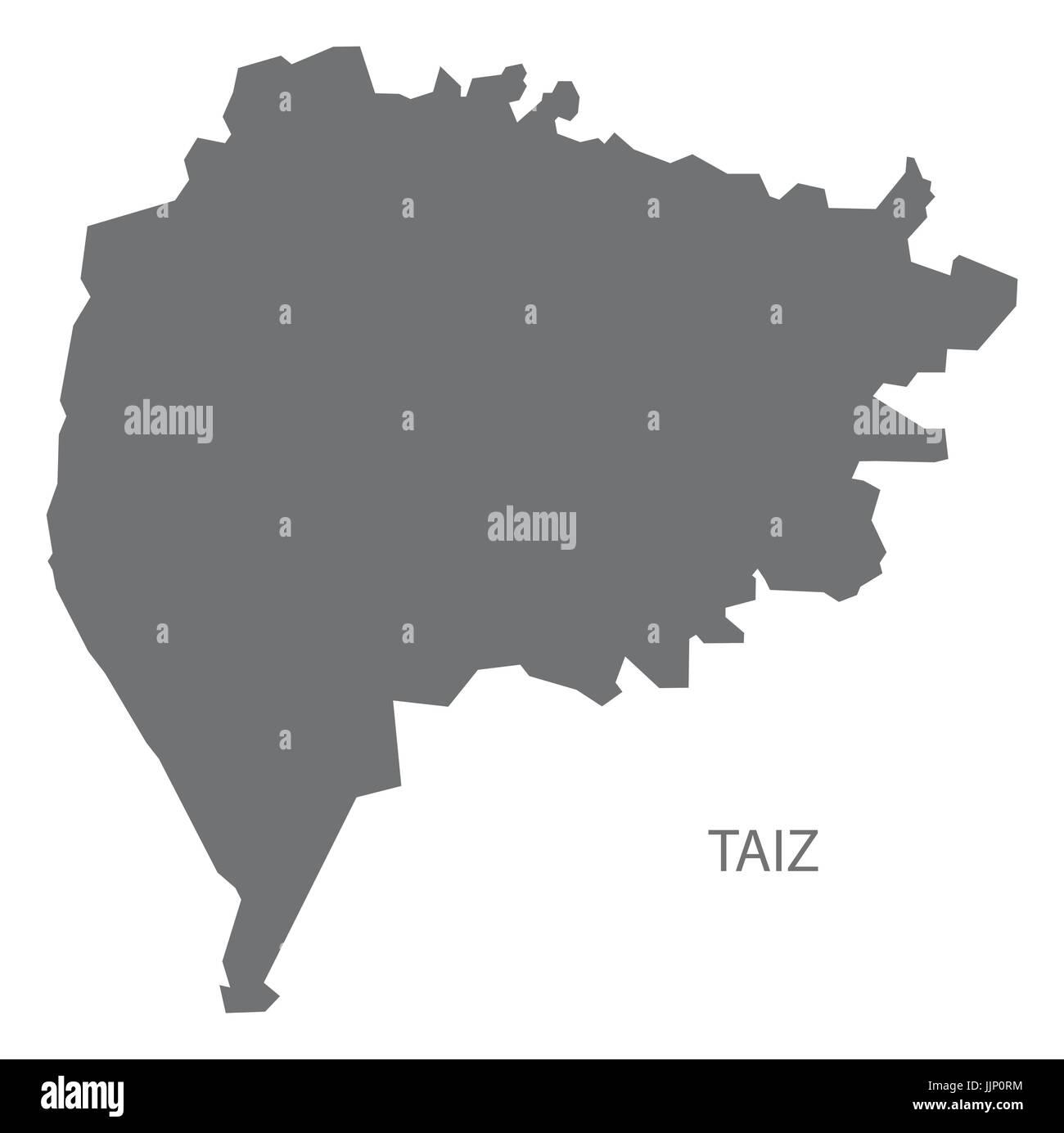 Taiz Yemen governorate map grey illustration silhouette shape - Stock Vector