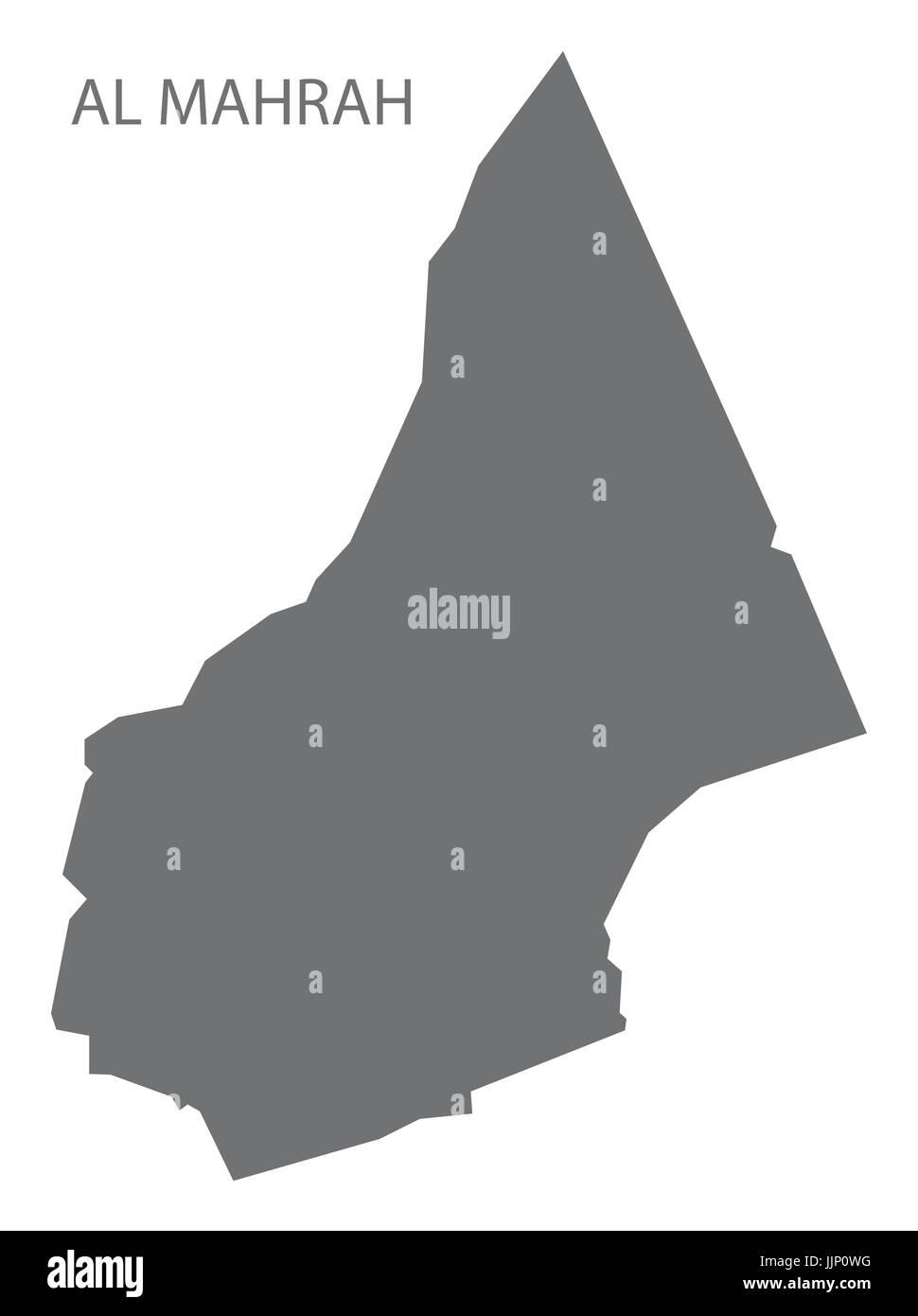 Al Mahrah Yemen governorate map grey illustration silhouette shape - Stock Image