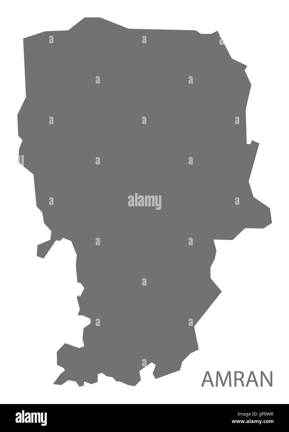 Amran Yemen governorate map grey illustration silhouette shape - Stock Vector