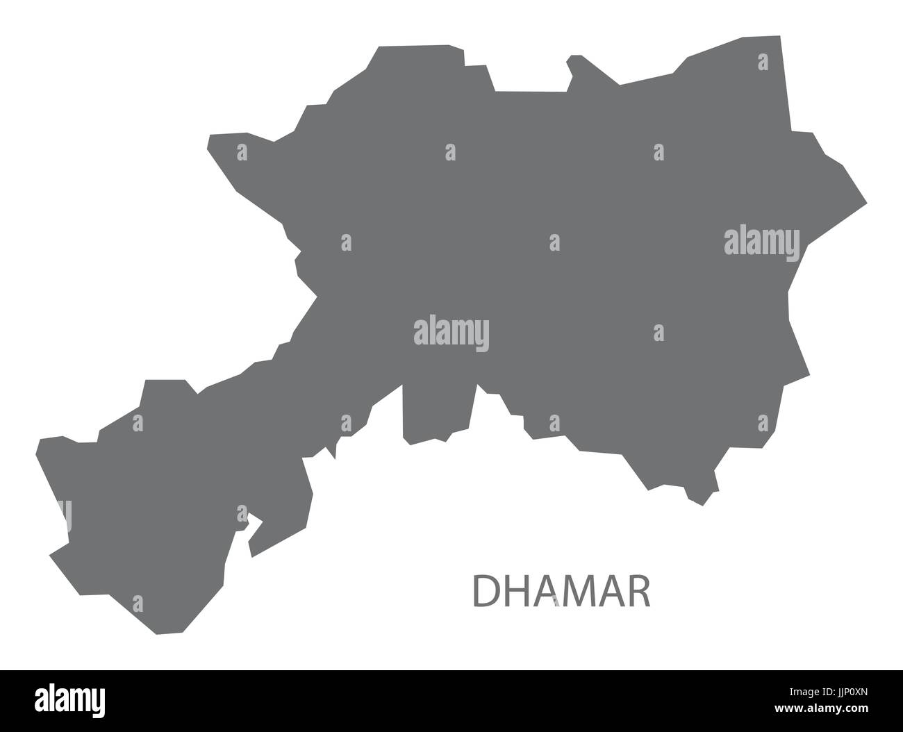 Dhamar Yemen governorate map grey illustration silhouette shape - Stock Vector