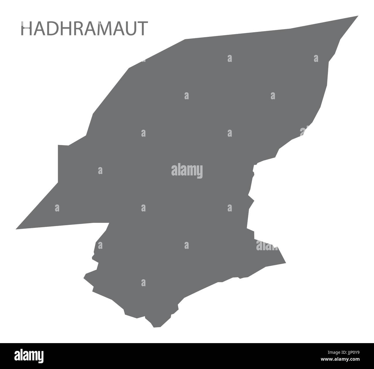 Hadhramaut Yemen governorate map grey illustration silhouette shape - Stock Vector