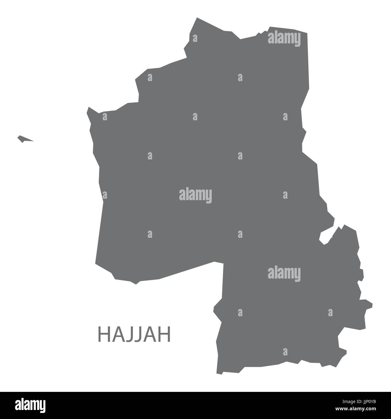 Hajjah Yemen governorate map grey illustration silhouette shape - Stock Vector