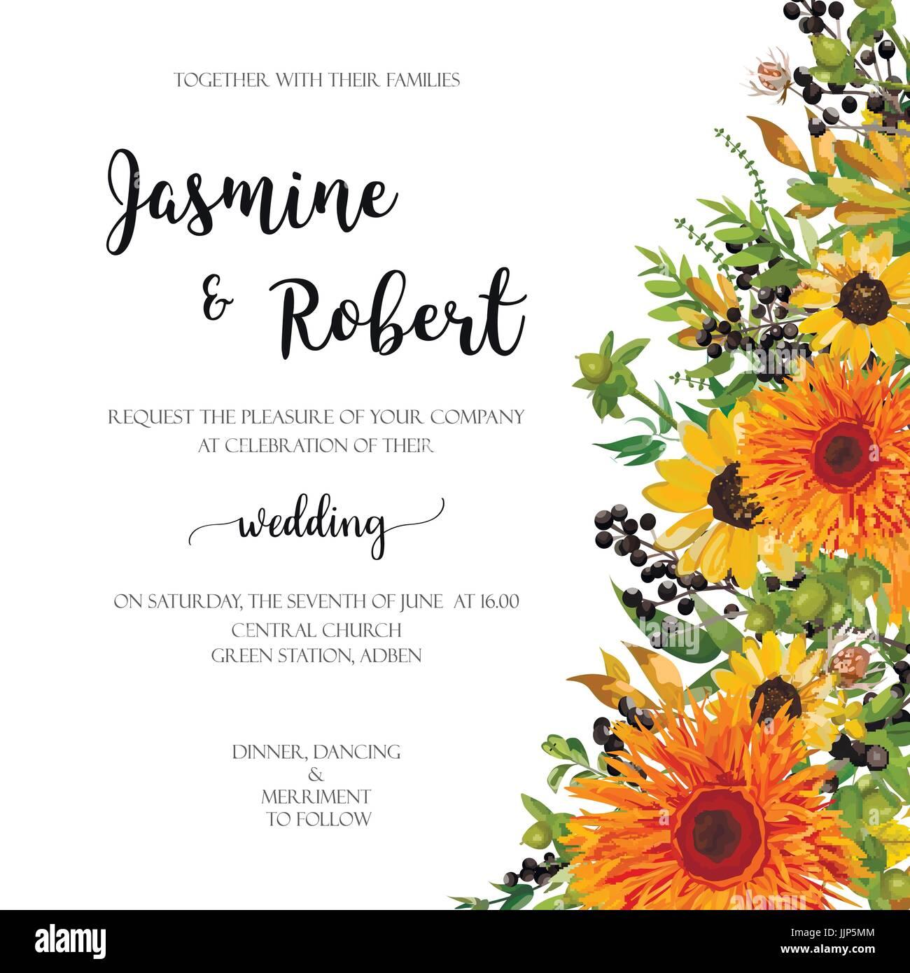 Wedding invitation floral invite card: orange yellow sunflower Stock ...