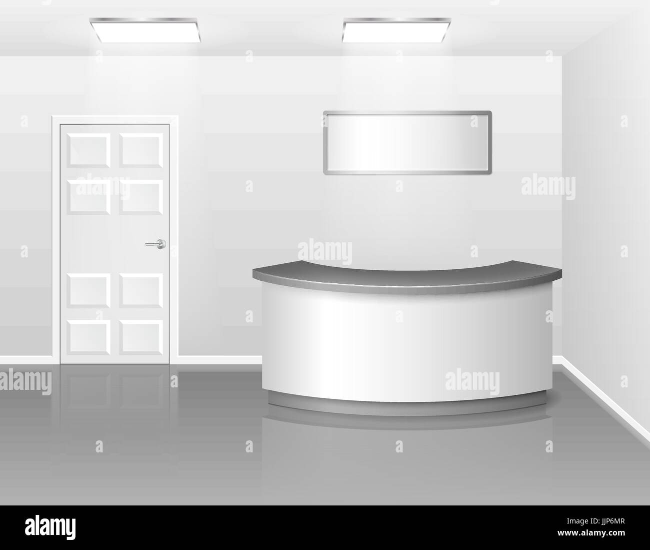 office counter desk. Office Or Hotel Interior With Reception Exhibition Counter Desk. 3d Realistic Vector Illustration. Empty Business Hall Desk
