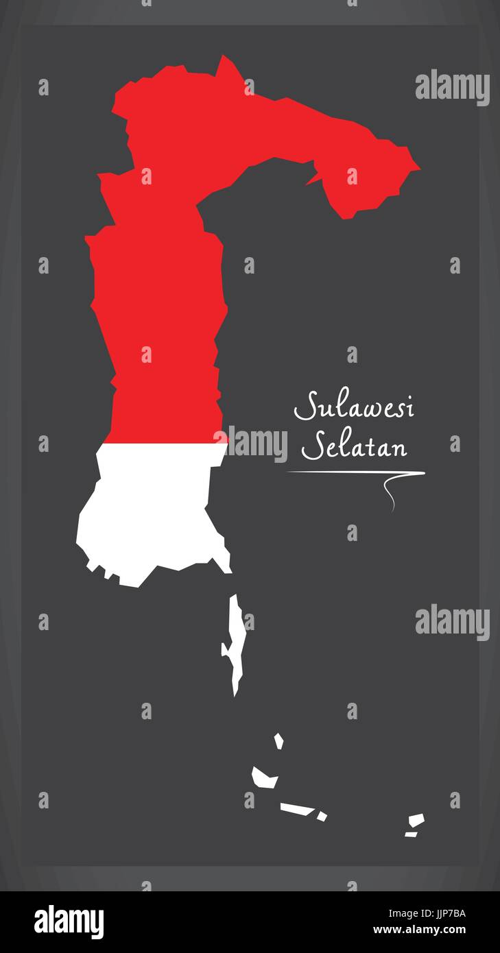 Sulawesi Selatan Indonesia map with Indonesian national flag illustration - Stock Vector