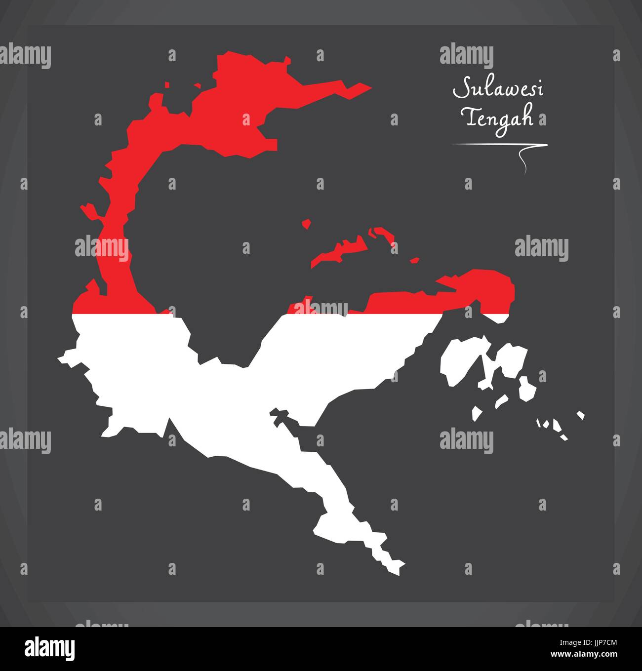 Sulawesi Tengah Indonesia map with Indonesian national flag illustration - Stock Vector