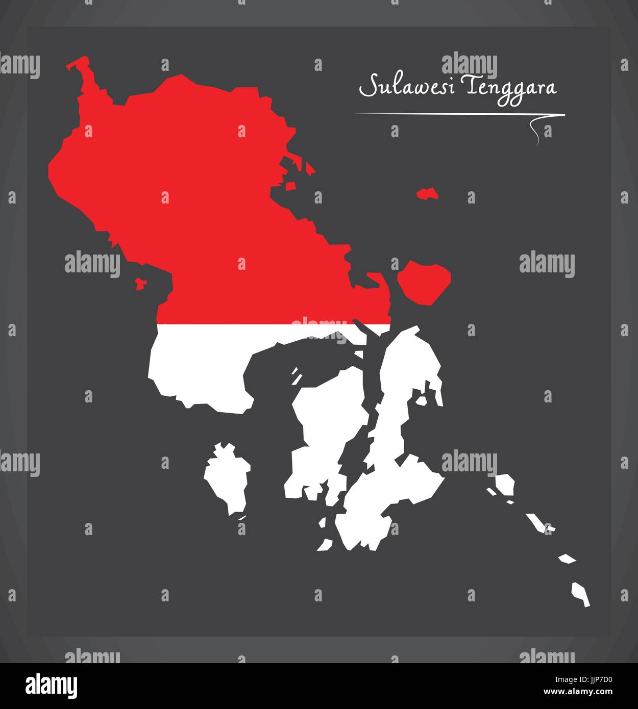 Sulawesi Tenggara Indonesia map with Indonesian national flag illustration - Stock Vector