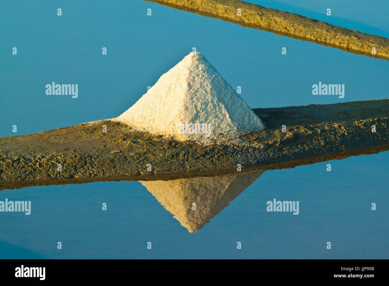 Salt pans and pile of 'Fleur de Sel' around the Fier d'Ars marshes of the west. Ars en Ré; Ile - Stock Image