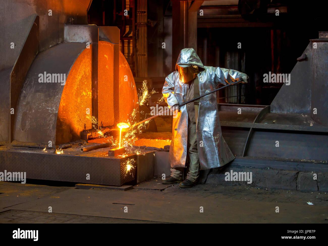 ThyssenKrupp steelwork, Duisburg, Ruhr area, North Rhine-Westphalia, Germany, Europe.  ThyssenKrupp HŸttenwerk, - Stock Image