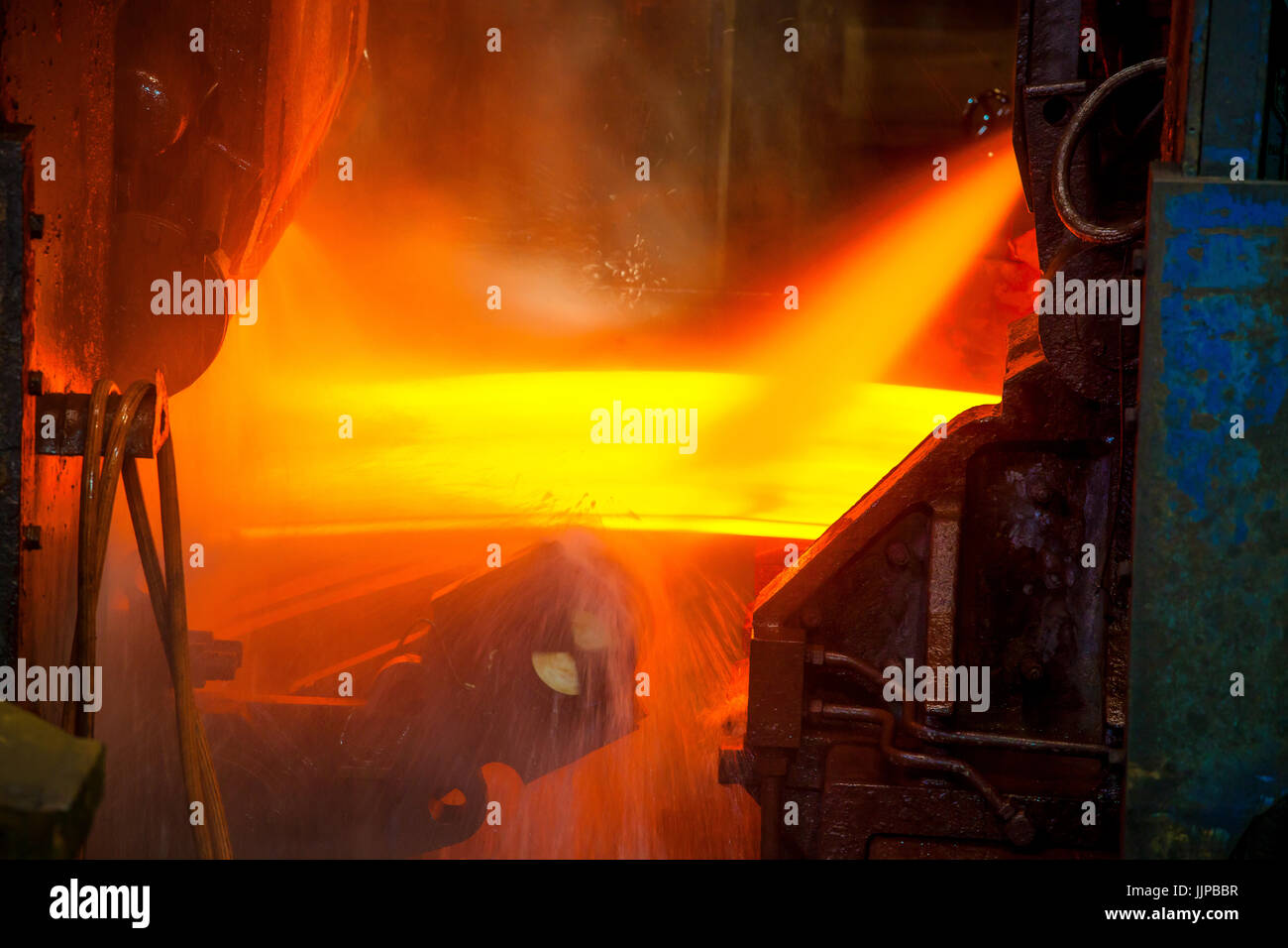 ThyssenKrupp steelwork in Duisburg, Ruhr Area, North Rhine-Westphalia, Germany, Europe. Gieswalzanlage, ThyssenKrupp - Stock Image