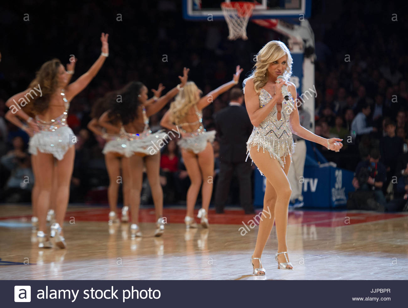 11/14/13 Houston Rockets Vs. New York Knicks At Madison Square Garden: 80u0027s  Artist Debbie Gibson Performs With The Knicks City Dancers
