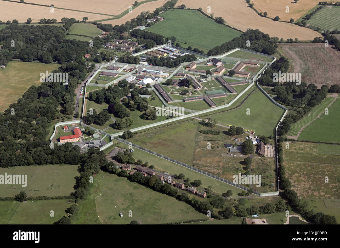 aerial view of IRC Morton Hall, Immigration Detention Centre, near Lincoln, UK - Stock Image