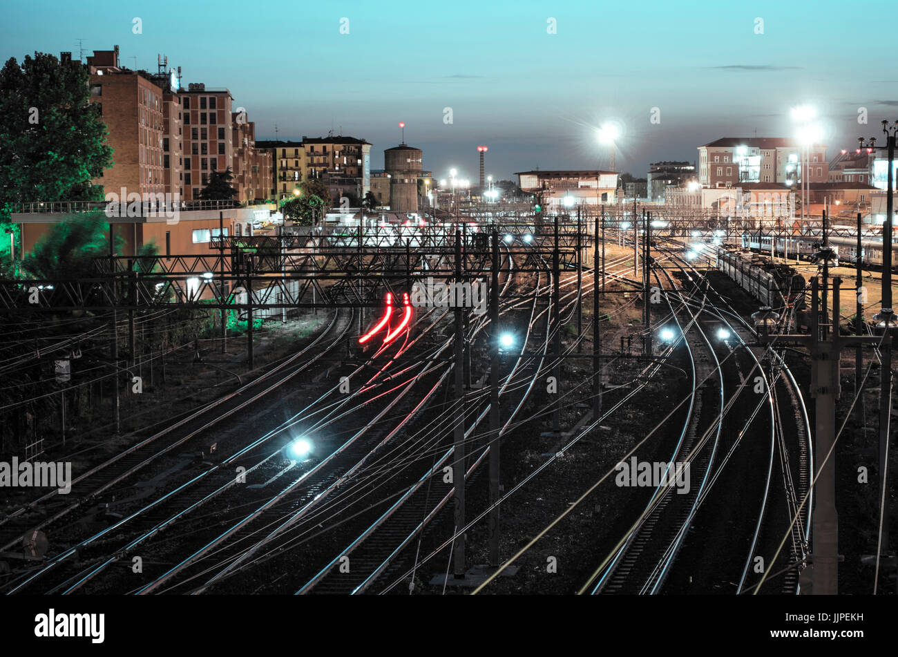 A picture of the train railways near the central station of Bologna, Italy - Stock Image