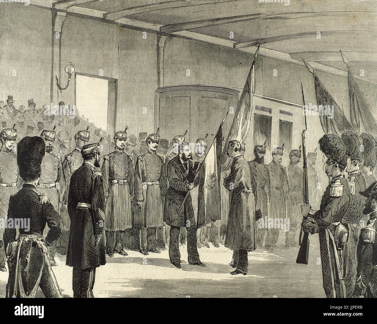 History of the United States. Philadelphia International Exposition. The arrival of the Spanish military engineers, - Stock Image