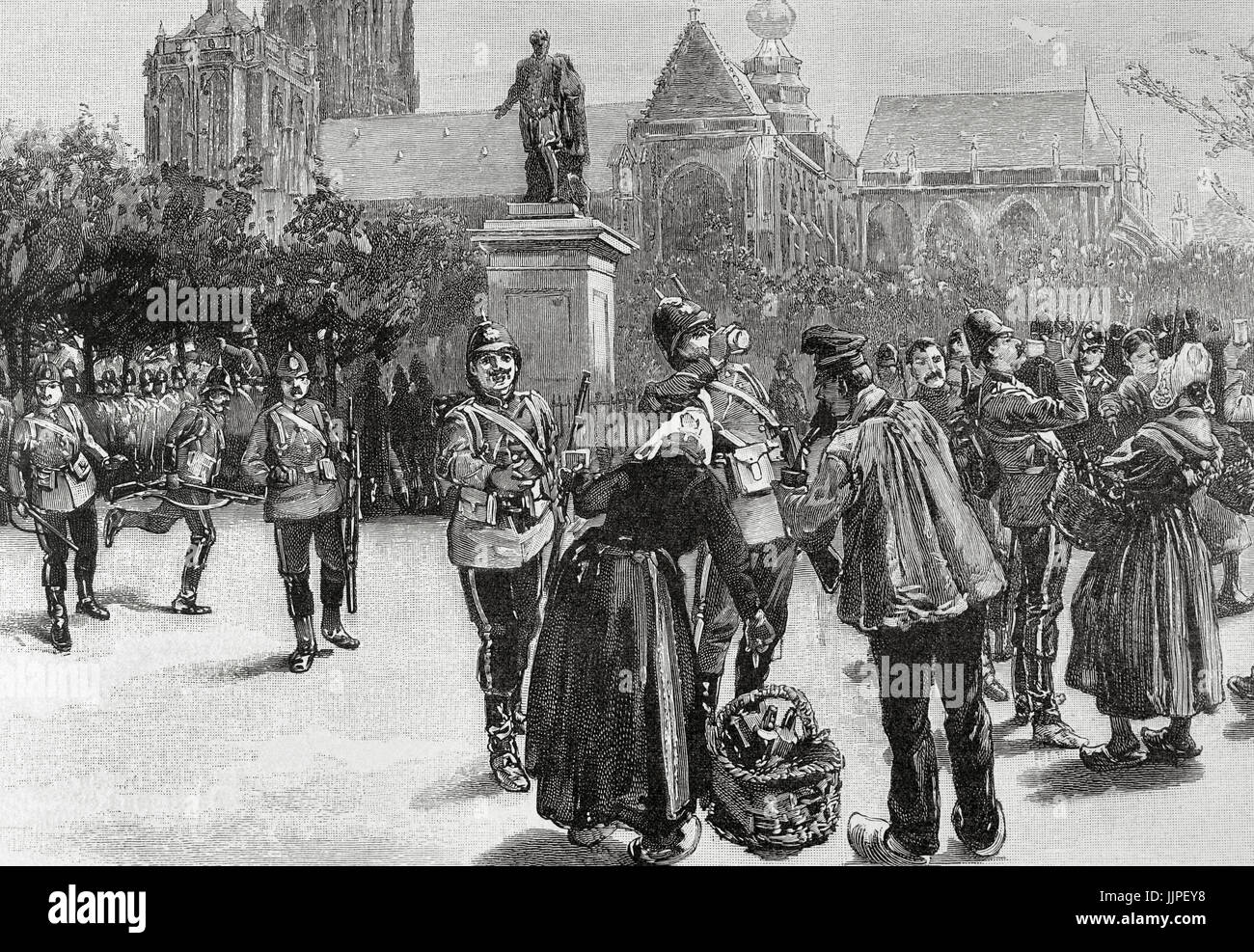 The Great War of 1892. English troops at Verte Square, Antwerp. Engraving in The Artistic Illustration, 1892. - Stock Image