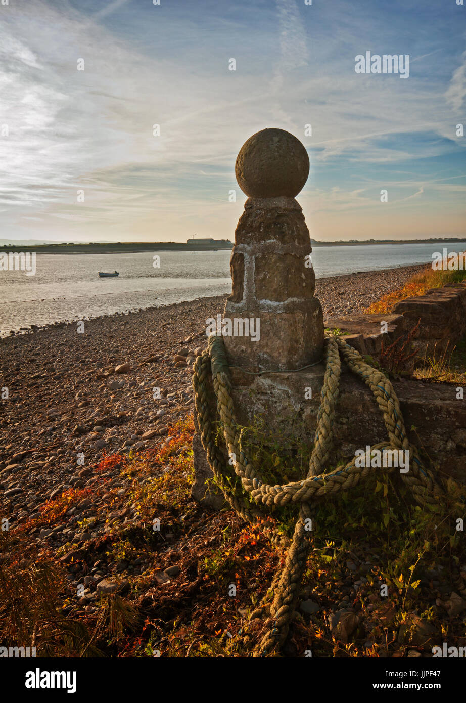 Bollard on the quayside at Sunderland Point Stock Photo