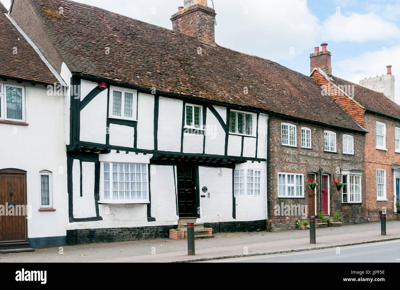 A row of classical georgian and tudor style terrace houses in the high street of wendover, buckinghamshire, in the - Stock Image