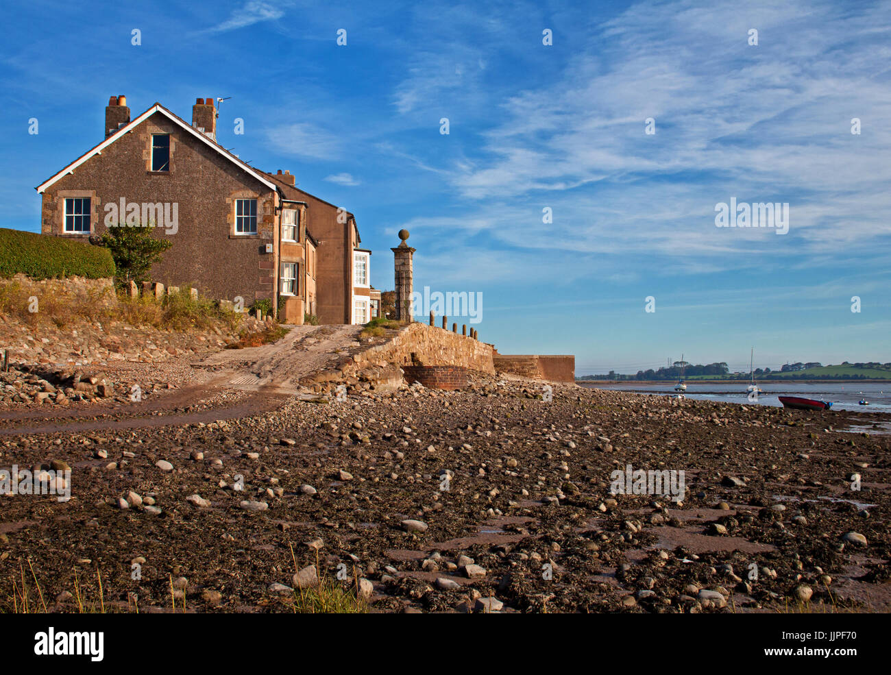Property on the quayside at Sunderland Point Stock Photo