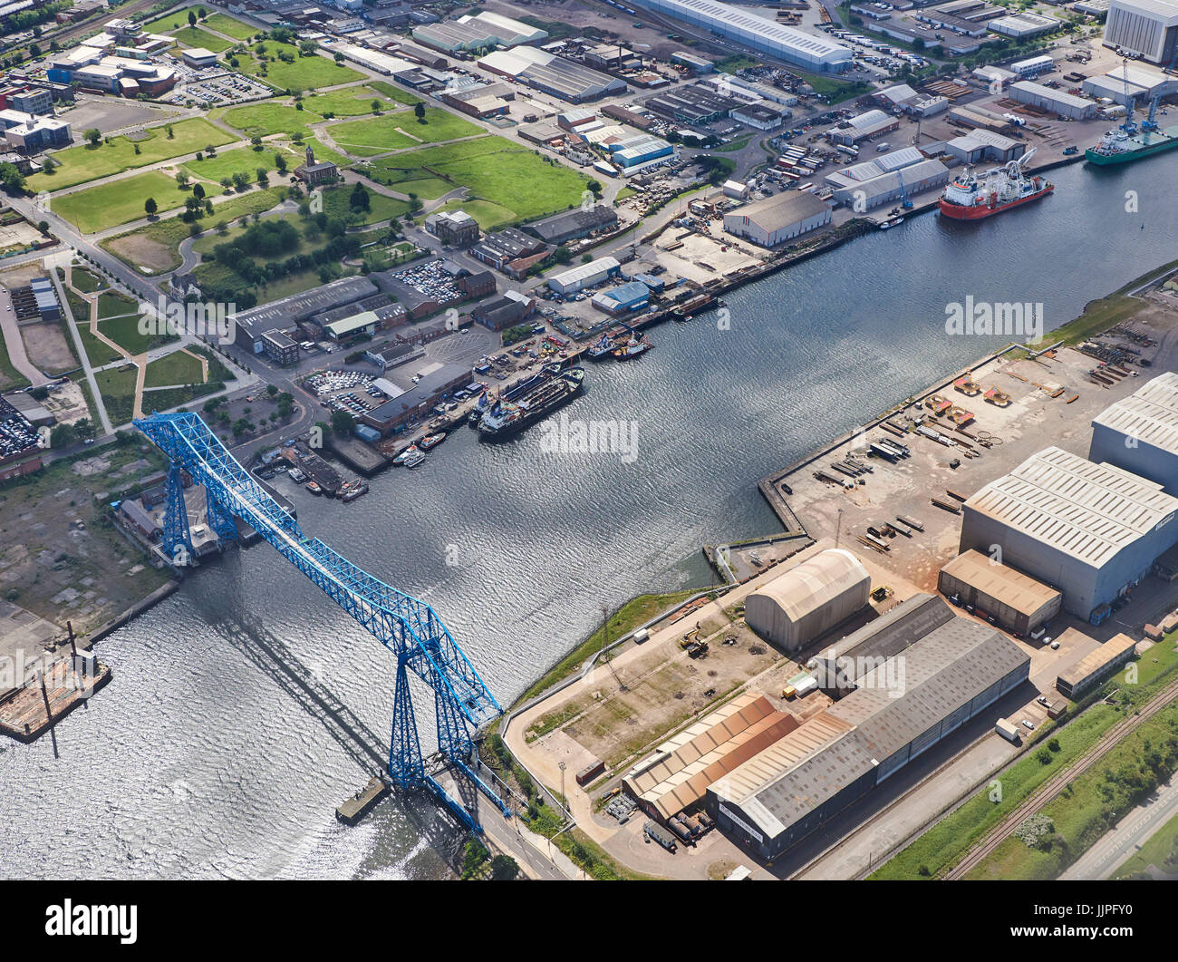 River Tees from the air, Middlesborough, North East England, UK - Stock Image