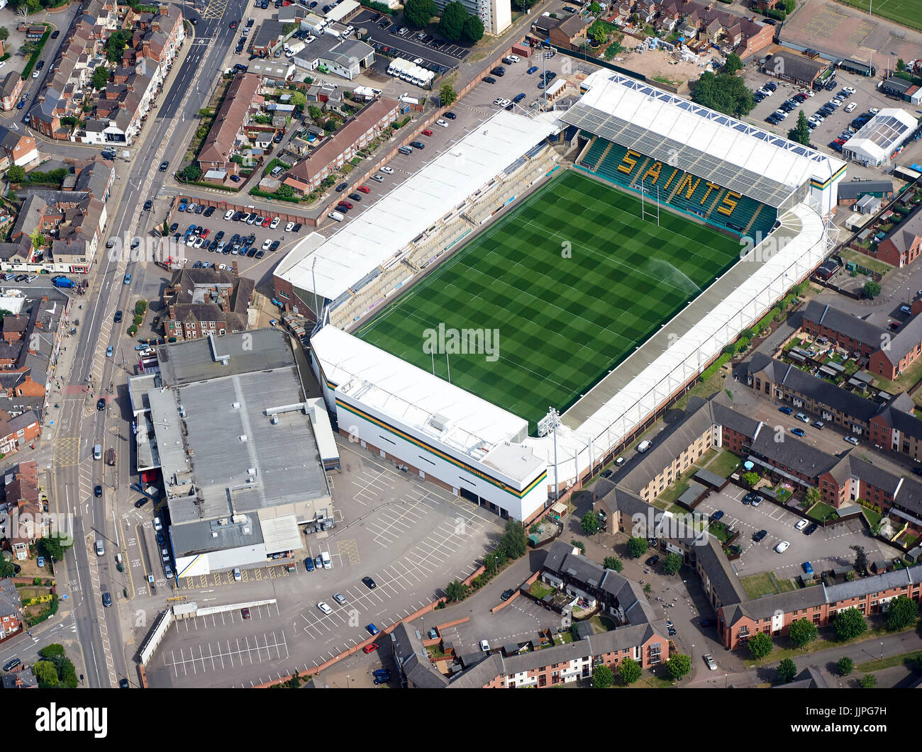 An aerial view of Northampton Saints Rugby Ground, Franklin's Gardens, Northamptonshire, UK