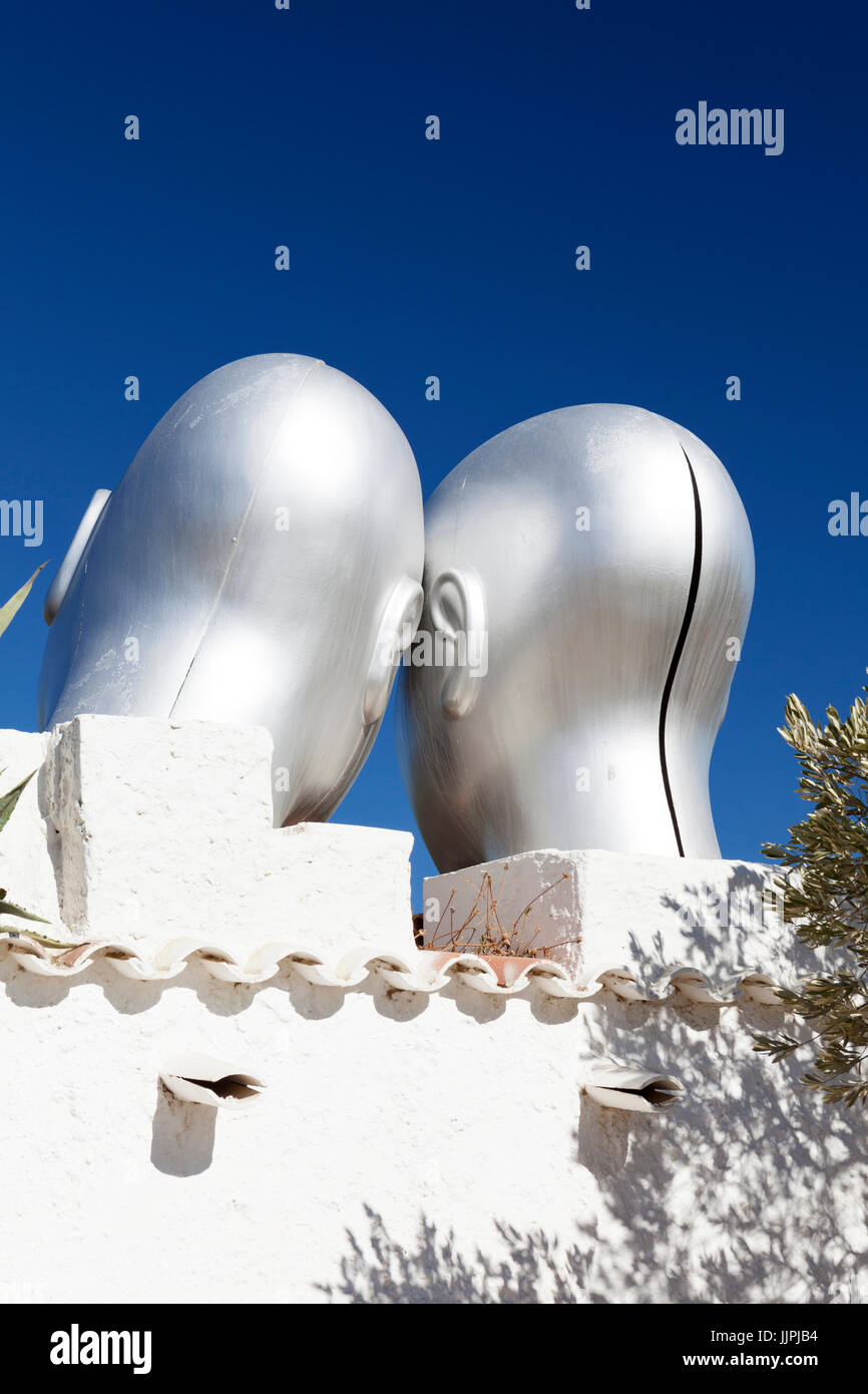 Statues of Castor and Pollux at the Salvador Dali museum in Portlligat. - Stock Image