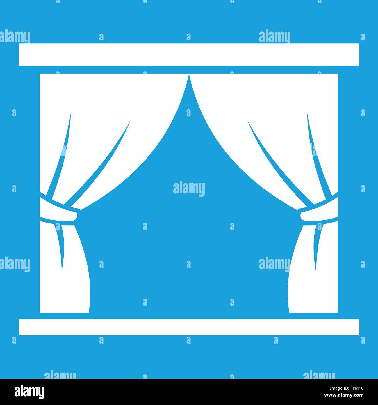 Curtain on stage icon white - Stock Vector