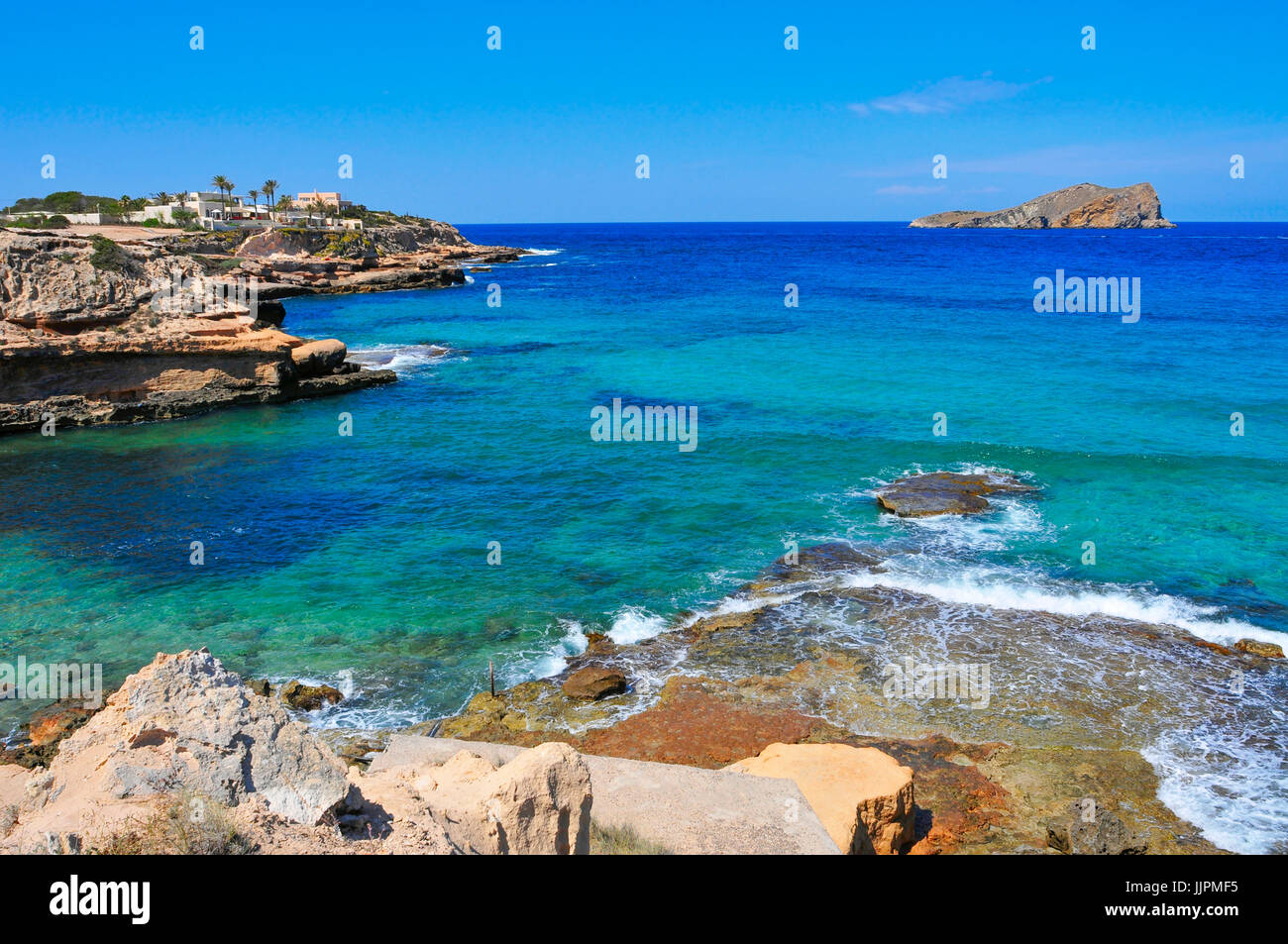view of the cliffy coast of Sant Josep, in the South-West of Ibiza Island, Spain - Stock Image